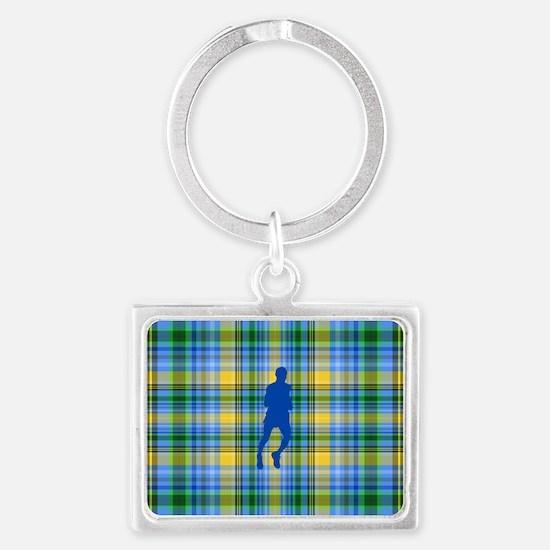Runners Plaid male blue Landscape Keychain