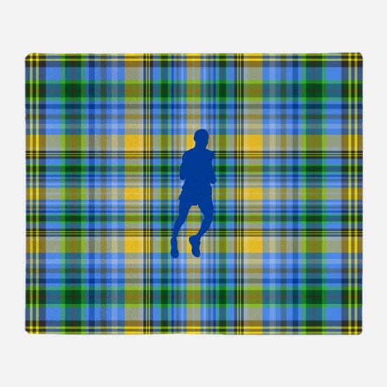 Runners Plaid male blue Throw Blanket