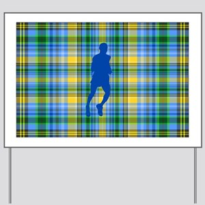 Runners Plaid male blue Yard Sign