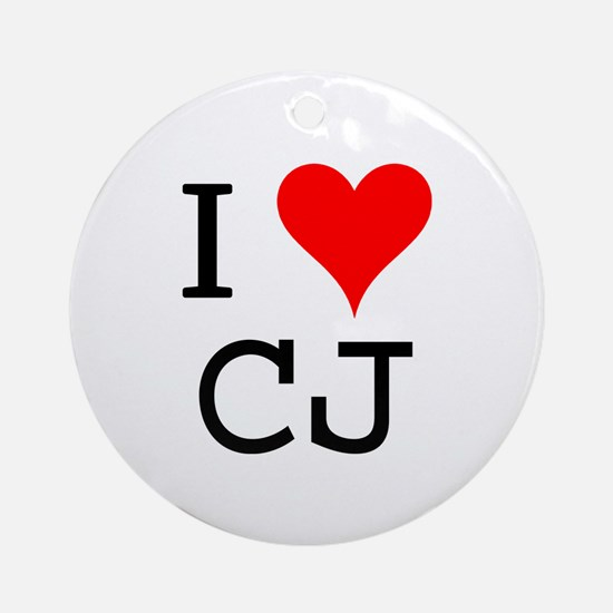 I Love CJ Ornament (Round)