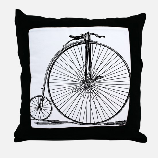 Vintage Penny Farthing Bicycle Throw Pillow