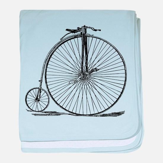 Vintage Penny Farthing Bicycle baby blanket