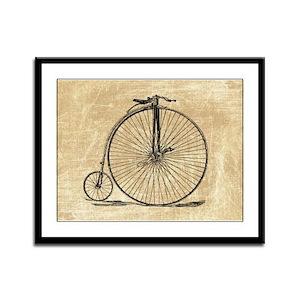 Vintage Penny Farthing Bicycle Framed Panel Print