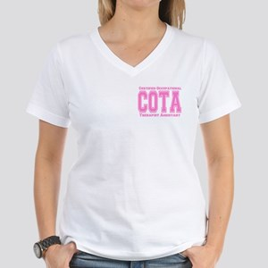 Pink Collegiate COTA Women's V-Neck T-Shirt