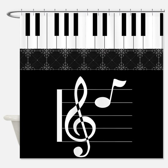Piano Etude In Black Shower Curtain