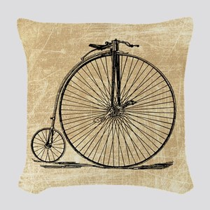 Vintage Penny Farthing Bicycle Woven Throw Pillow