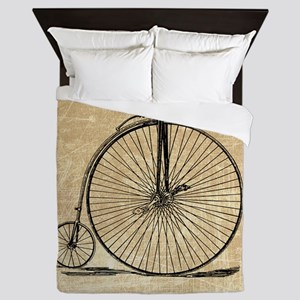 Vintage Penny Farthing Bicycle Queen Duvet