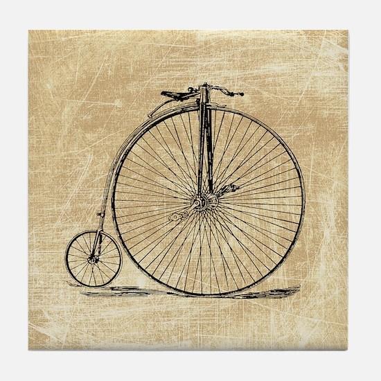 Vintage Penny Farthing Bicycle Tile Coaster