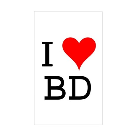 I Love BD Rectangle Sticker
