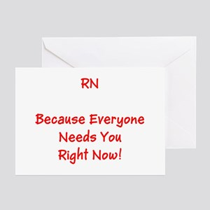 Funny Rn Nurse Means Right Now Greeting Cards