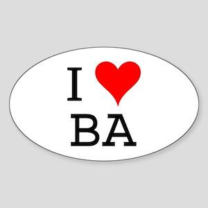 I Love BA Oval Sticker