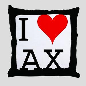 I Love AX Throw Pillow