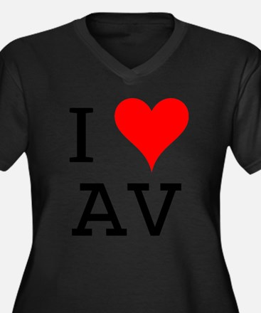 I Love AV Women's Plus Size V-Neck Dark T-Shirt