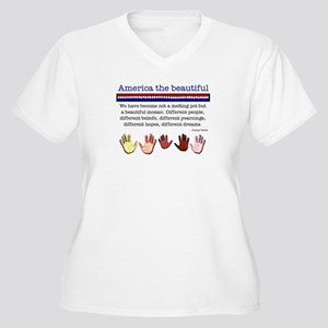 America the Beautiful Women's Plus Size V-Neck T-S