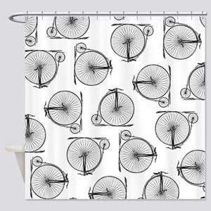 Old Time Bicycle Pattern Shower Curtain