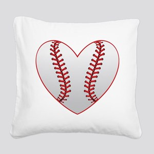 cute Baseball Heart Square Canvas Pillow