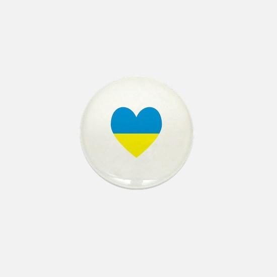 Ukrainian Flag Heart Mini Button