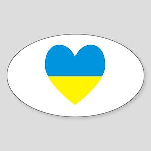 Ukrainian Flag Heart Sticker (Oval)