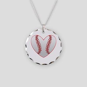 Cute Baseball Heart Necklace Circle Charm