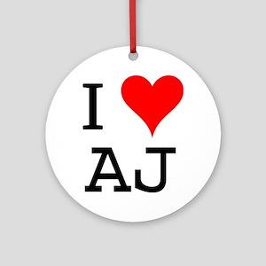 I Love AJ Ornament (Round)