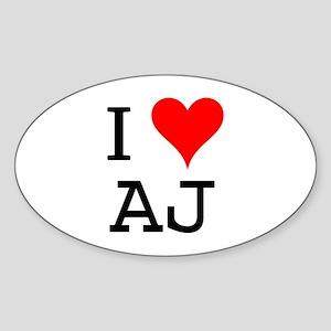 I Love AJ Oval Sticker