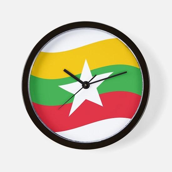 Myanmar / Burma Flag Wave Wall Clock