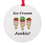 Ice Cream Junkie Round Ornament