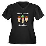 Ice Cream Ju Women's Plus Size V-Neck Dark T-Shirt