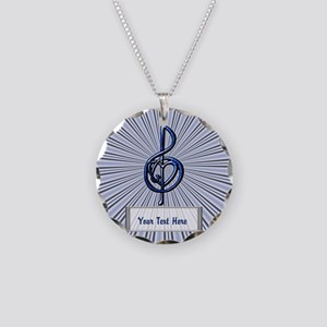 Personalizable Blue Music Tr Necklace Circle Charm