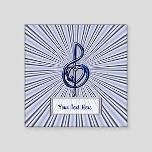 """Personalizable Blue Music T Square Sticker 3"""" x 3"""""""
