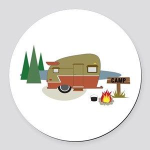 Camping Trailer Round Car Magnet