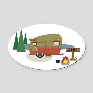 Camping Trailer Oval Car Magnet