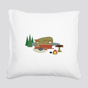 Camping Trailer Square Canvas Pillow