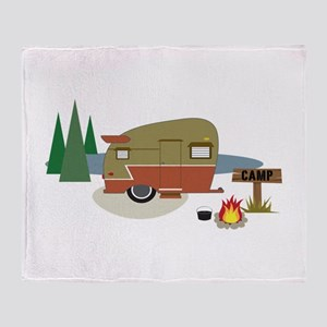 Camping Trailer Throw Blanket
