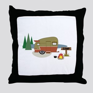 Camping Trailer Throw Pillow