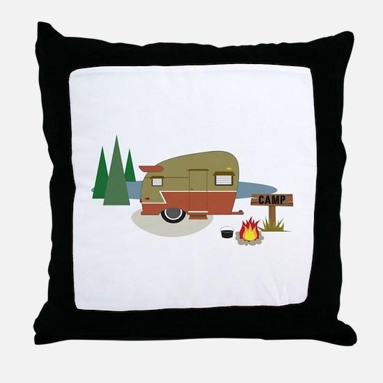 Camping Trailer Throw Pillow
