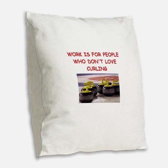CURLING2 Burlap Throw Pillow