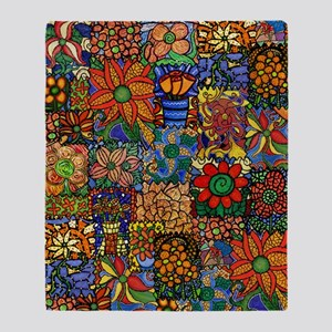 Funky Floral Patchwork Throw Blanket