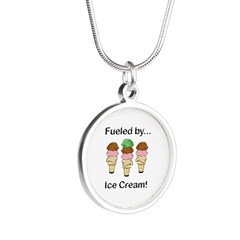 Fueled by Ice Cream Silver Round Necklace