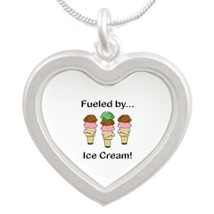 Fueled by Ice Cream Silver Heart Necklace