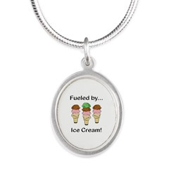 Fueled by Ice Cream Silver Oval Necklace