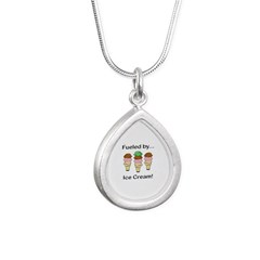 Fueled by Ice Cream Silver Teardrop Necklace