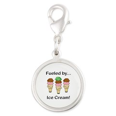 Fueled by Ice Cream Silver Round Charm