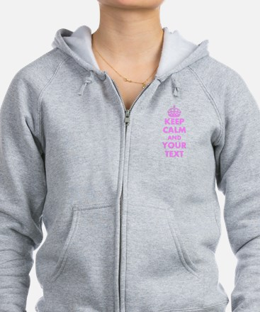 Pink keep calm and carry on Zip Hoodie