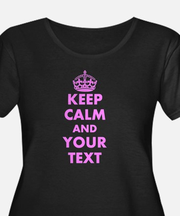 Pink keep calm and carry on Plus Size T-Shirt