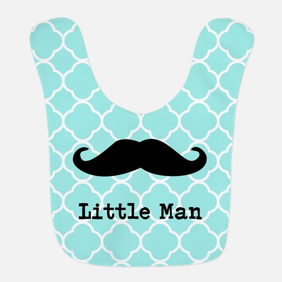 Quatrefoil Pattern Mustache Bib -Personalize