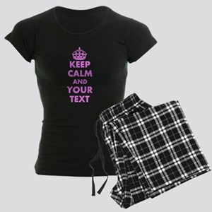 Pink Keep Calm And Carry On | Women's Dark Pajamas