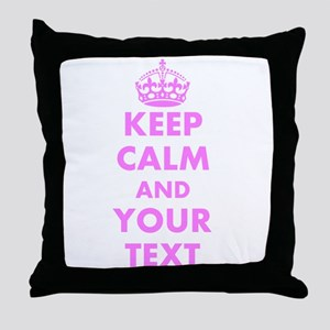 Pink keep calm and carry on Throw Pillow
