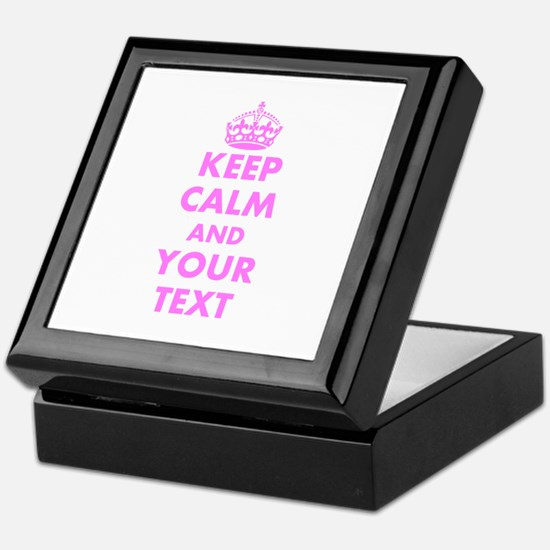 Pink Keep Calm And Carry On Custom Keepsake Box