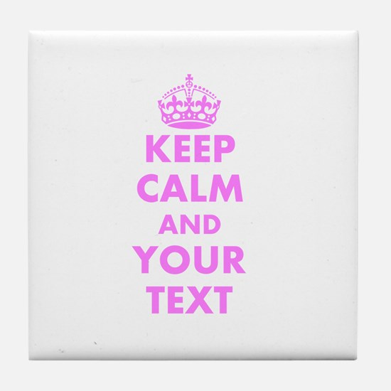 Pink keep calm and carry on Tile Coaster